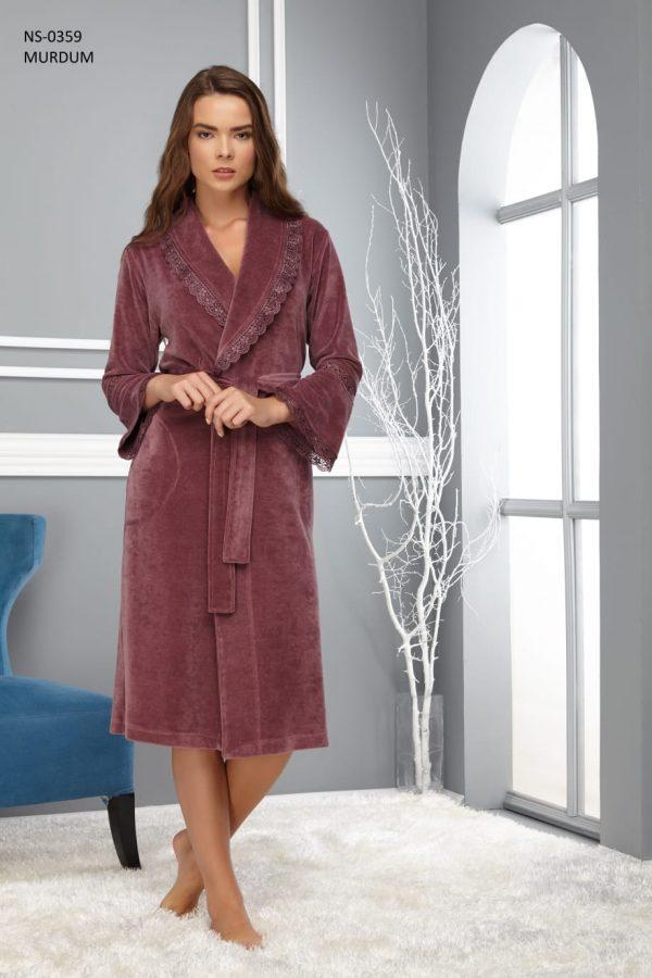 купить Женский халат Nusa длинный без капюшона 0359 Murdum Сиреневый фото