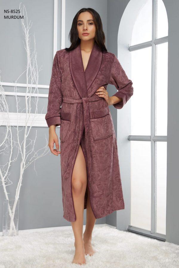 купить Женский халат Nusa длинный без капюшона 8525 Murdum Коричневый фото