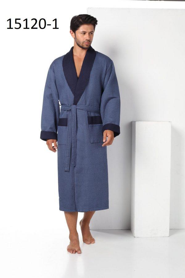 купить Мужской халат Nusa длинный без капюшона 15120-1 New Синий фото