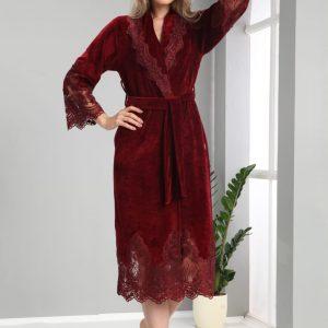 купить Женский халат Nusa тонкий велюр без капюшона 0383 Bordo Бордовый фото