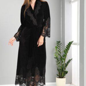 купить Женский халат Nusa тонкий велюр без капюшона 0383 Siyah Черный фото