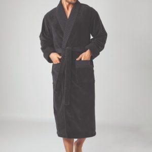 купить Мужской халат Nusa длинный без капюшона 2965 Черный Черный фото