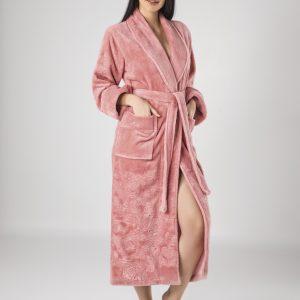 купить Женский халат Nusa длинный без капюшона 8650 Розовый фото