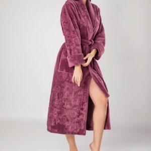 купить Женский халат Nusa длинный без капюшона 8650 лиловый Сиреневый фото