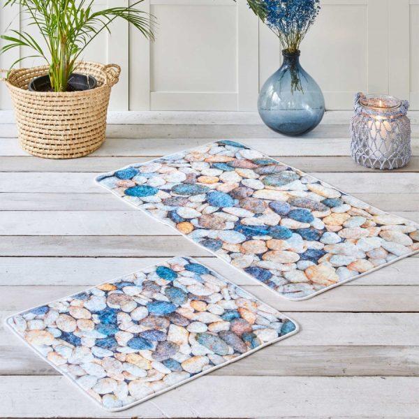 купить Набор ковриков Karaca Home - Stone Голубой фото