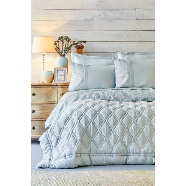 купить Постельное белье с одеялом Karaca Home - Carissa Mavi Сатин 7 Предметов Голубой фото