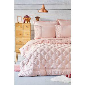 купить Постельное белье с одеялом Karaca Home - Carissa Pudra Сатин 7 Предметов Розовый фото