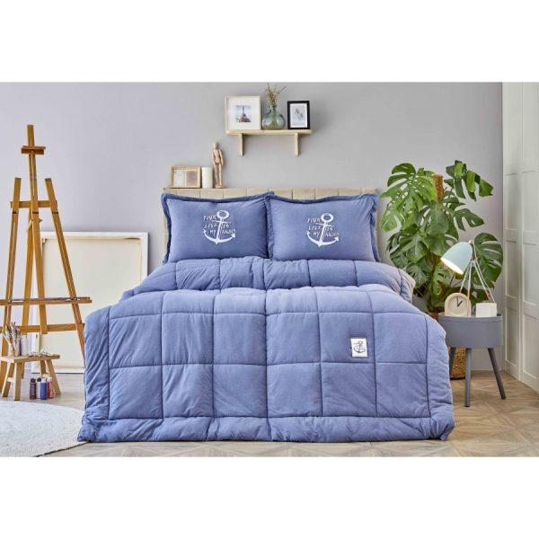 купить Постельное белье с одеялом Karaca Home - Toffee Indigo Голубой фото
