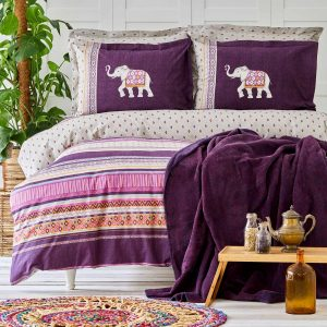 купить Постельное белье с пледом Karaca Home - Faroy Фиолетовый фото