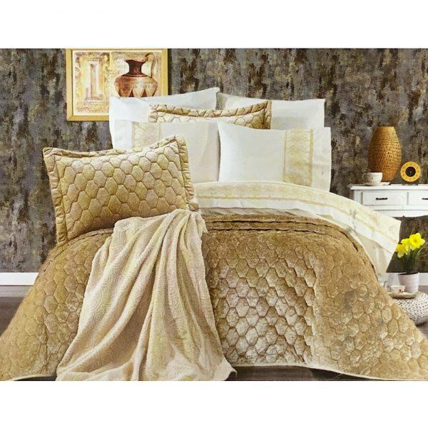 купить Покрывало с постельным бельем и пледом 10 предметов ORKIDE BEIG Бежевый|Золотой фото