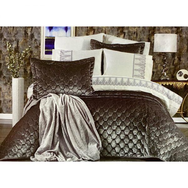купить Покрывало с постельным бельем и пледом 10 предметов ORKIDE GRI Серый фото