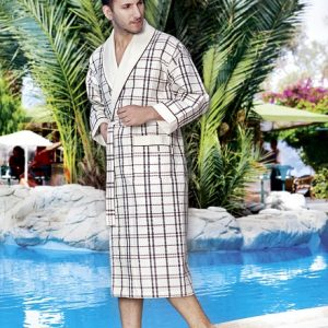 купить Мужской халат Nusa длинный без капюшона 10020 Крем Кремовый фото
