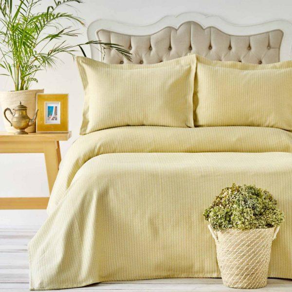 купить Покрывало с наволочками Karaca Home - Cally Cagla Yesili Желтый фото