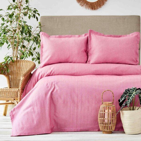 купить Покрывало с наволочками Karaca Home - Palvi Fusya Розовый фото