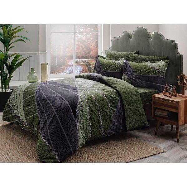 купить Постельное белье TAC Сатин Delux - Borneo Yesil V01 Зеленый фото