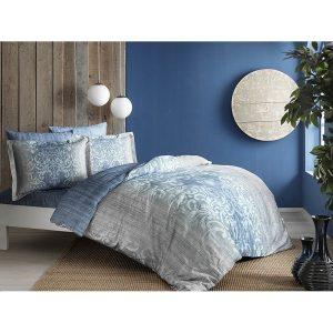 купить Постельное белье TAC Сатин Digital - Leora Mavi V01 Голубой фото