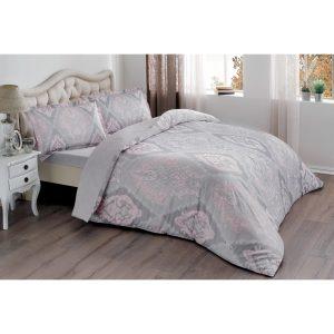 купить Постельное белье TAC Сатин - Vales Pembe V03 Розовый|Серый фото
