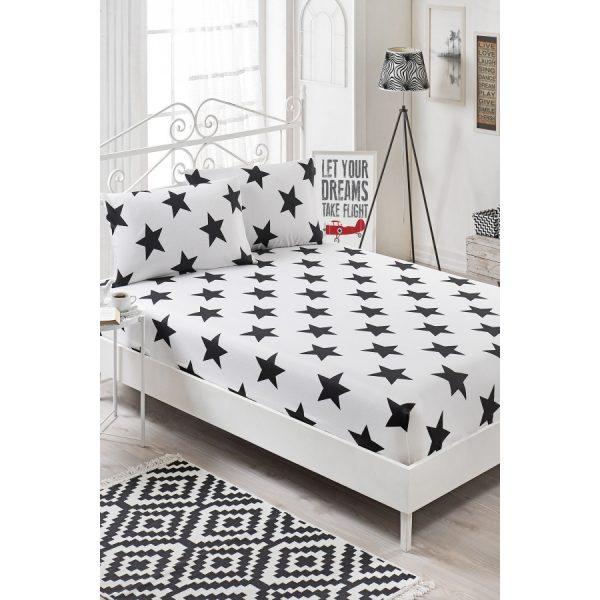 купить Простынь на резинке с наволочками Eponj Home B&W - Bigstar Черный|Белый фото