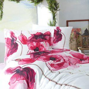 купить Постельное белье 3D Cатин - Dantela Vita SARAH Красный Розовый фото