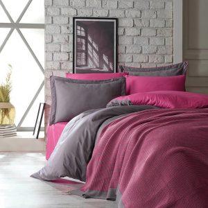 купить Постельное белье Сатин Dantela Vita TUANA FUCHSIA SET Розовый фото