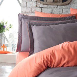 купить Постельное белье сатин Dantela vita TUANA ORANGE Оранжевый|Серый фото