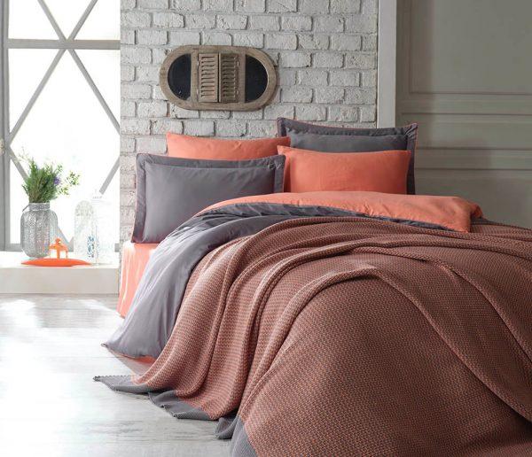 купить Постельное белье Сатин Dantela Vita TUANA ORANGE SET Оранжевый|Серый фото