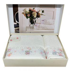 купить Набор полотенец TIVOLYO HOME VENICE 2 Белый|Розовый фото