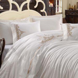купить Постельное белье cатин делюкс с вышивкой Dantela Vita OLIVIA Bej Белый фото