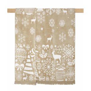 купить Плед Arya хлопок Christmas Snowy Бежевый фото
