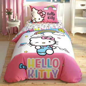 купить Детское постельное белье TAC Hello Kitty Rainbow Розовый фото