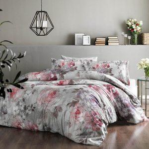 купить Постельное белье TAC Elisha Pink Digital Серый|Розовый фото