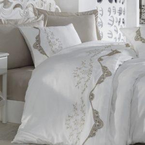 купить Постельное белье cатин делюкс с вышивкой Dantela Vita PARADISE Белый фото