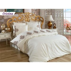 купить Постельное белье Arya Сатин с вышивкой Cristina Кремовый фото