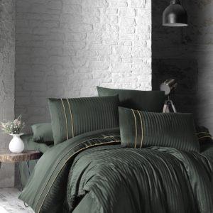 купить Постельное белье First Choice сатин де люкс stripe style dark green Зеленый фото