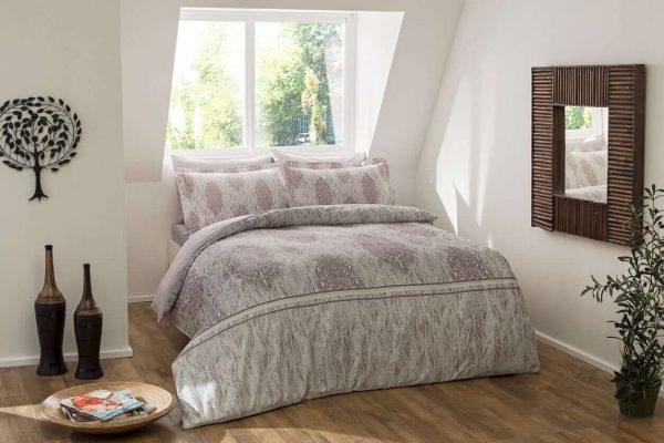 купить Постельное белье TAC Elise Digital Серый|Розовый фото