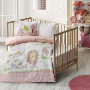 купить Детское постельное белье в кроватку TAC Happy Zoo Pink Розовый фото