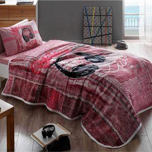 купить Летнее постельное белье с Пике TAC Listen Pink Бордовый фото