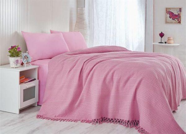 купить Покрывало-плед Checkers розовый Розовый фото