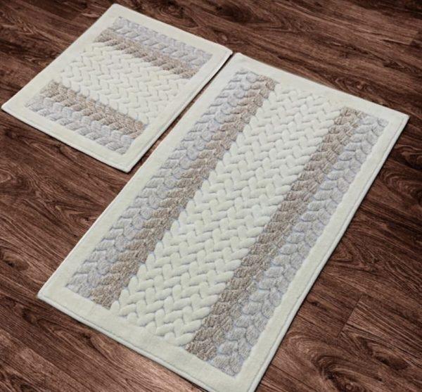 купить Набор ковриков Zugo Home Mercan Fidisi 50x60+60x100 Серый фото