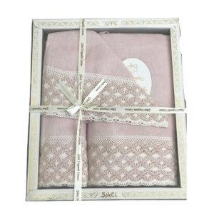 купить Набор махровых полотенец Sikel лен кружево Lace пудровый Розовый фото
