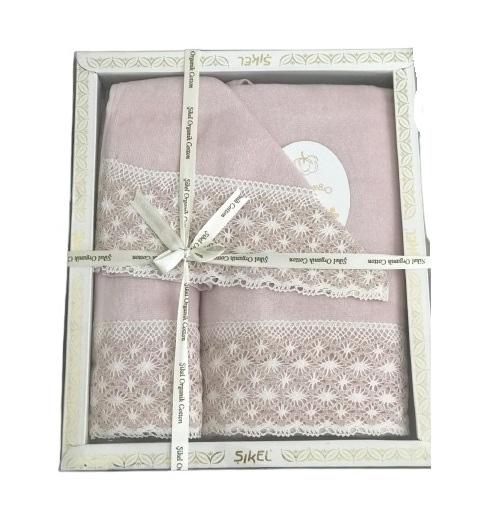 купить Набор махровых полотенец Sikel кружево Lace 30x50 + 50x90 + 70x140 пудровый Розовый фото