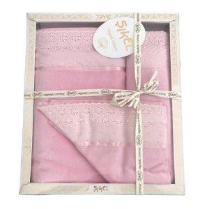 купить Набор махровых полотенец Sikel лен кружево Grace розовый Розовый фото
