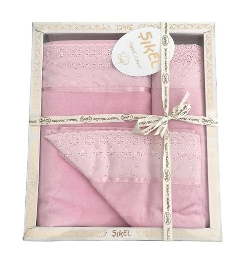 купить Набор махровых полотенец Sikel кружево Grace 30x50 + 50x90 + 70x140 розовый Розовый фото