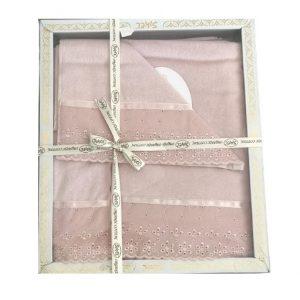 купить Набор махровых полотенец Sikel лен кружево Grace пудровый Розовый фото