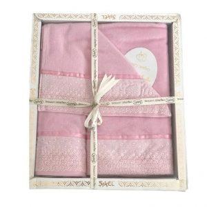 купить Набор махровых полотенец Sikel лен кружево Flowers розовый Розовый фото