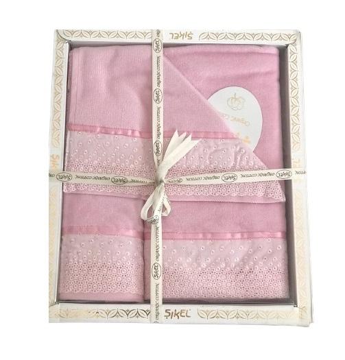 купить Набор махровых полотенец Sikel кружево Flowers 30x50 + 50x90 + 70x140 розовый Розовый фото