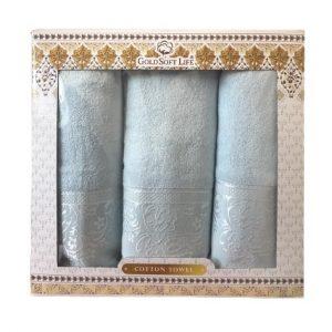 купить Набор махровых полотенец Gold Soft Life Hindistan blue Голубой фото