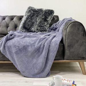 купить Плед Zugo Home Welsoft grey Серый|Фиолетовый фото