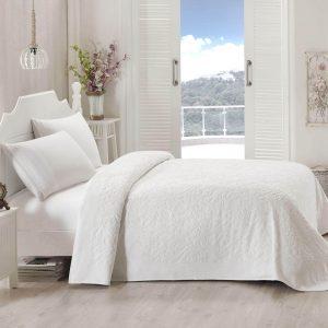 купить Махровое покрывало-простынь TAC Lyon White Кремовый|Белый фото