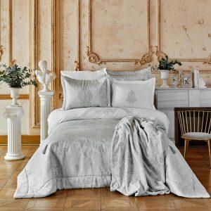 купить Постельное белье с покрывалом и пледом Karaca Home Adrila silver Серый фото